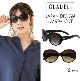 【送料無料】【全2色】GLADELI レザー テンプル レトロ サングラス ブラック ブラウン G92-54 レディース