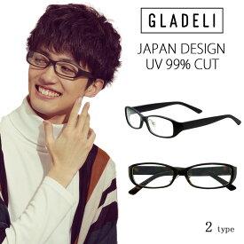 【送料無料】【全2色】GLADELI スクエア 伊達メガネ G48-90A メンズ
