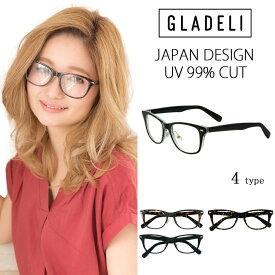 【送料無料】【全4色】GLADELI ウェリントン 伊達メガネ G48-92A レディース メンズ