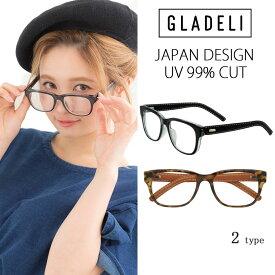 【送料無料】【全2色】GLADELI レザーテンプル伊達メガネ G49-22A レディース