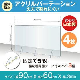 あす楽 4枚セット 日本製 飛沫防止 透明アクリルパーテーション W900*H600mm 対面式スクリーン デスク用仕切り板 コロナウイルス 対策、衝立 飲食店 オフィス 学校 病院 薬局 角丸加工 組立式 jap-r9060-4set