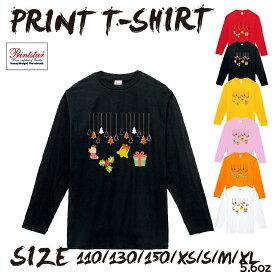 送料無料選べる6色クリスマスTシャツサンタトナカイ冬雪ダルマ長袖T長袖コスプレロンTロングスリーブコスプレオリジナル子供大人お揃いプリントTlt102-k35