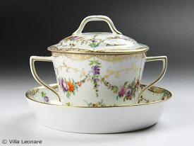 【ドレスデン】Helena Wolfsohn 手描き 花模様 スープカップ&ソーサー(蓋付)