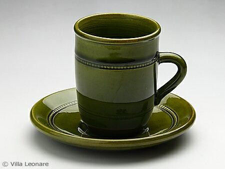【Hoganas Keramik 】グリーン カップ&ソーサー
