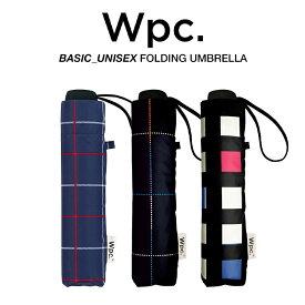 Wpc 折りたたみ傘 軽量 大きい58cm レディース メンズ 男女兼用傘 晴雨兼用傘 チェック柄 BASIC FOLDING UMBRELLA Wpc. ワールドパーティー MSM