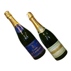 『シャンパン』2本セットシャンパーニュ コント・ド・ラモット ブリュット&ギィ・ド・サン・フラヴィー・ブリュット シャンパーニュがこの価格!【送料無料】【スパークリングワインセット】【楽ギフ_包装】