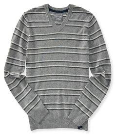 エアロポステール AEROPOSTALE メンズ Men's セーター Striped V-Neck Sweater ミディアムグレー Medium Heather Grey