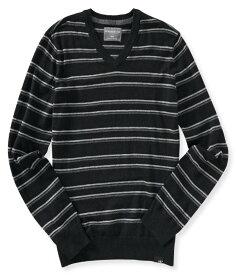 エアロポステール AEROPOSTALE メンズ Men's セーター Striped V-Neck Sweater ブラック Black