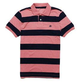 エアロポステール AEROPOSTALE メンズ Mens 半袖 ポロシャツ Striped Jersey Polo ピンク ネイビー Pink Navy