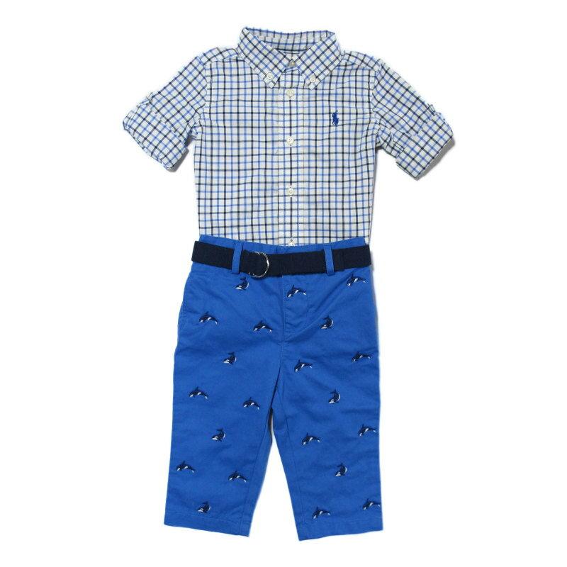(ポロ ラルフローレン チルドレンズウェア)POLO RALPH LAUREN CHILDRENSWEAR 長袖シャツ パンツ ベルト セット ホワイト/ブルー マルチ