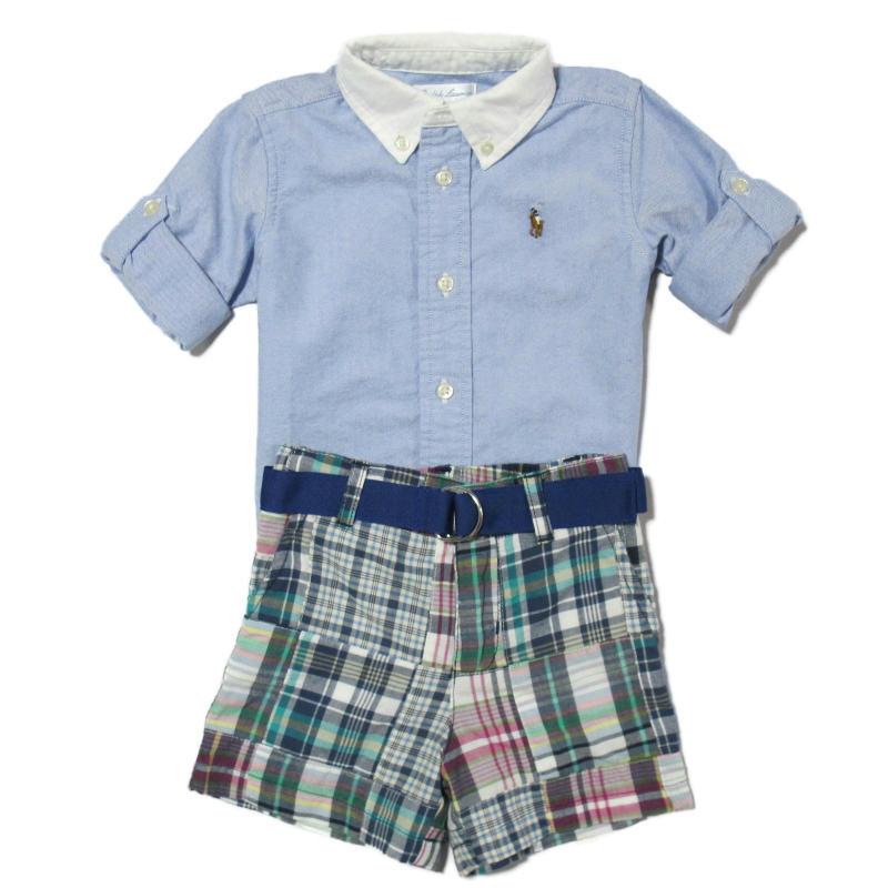 (ポロ ラルフローレン チルドレンズウェア)POLO RALPH LAUREN CHILDRENSWEAR 長袖シャツ ショートパンツ ベルト セット ブルー マルチ