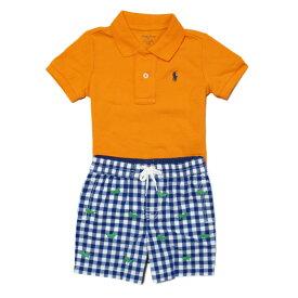 ラルフローレン RALPH LAUREN ポロシャツ ショートパンツセット Cotton Polo & Poplin Short Set オレンジ Resort Orange