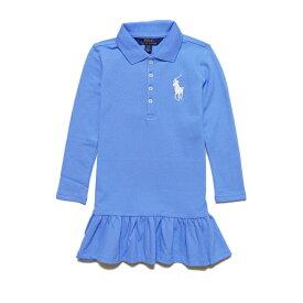 ポロ ラルフローレン POLO RALPH LAUREN ガールズ Girls 長袖 ポロシャツ ドレス Big Pony Stretch Mesh ブルー Harbor Island Blue