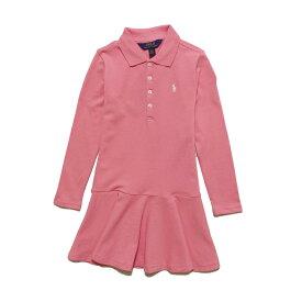 ポロ ラルフローレン POLO RALPH LAUREN ガールズ Girls 長袖 ポロシャツ ドレス Stretch Mesh Polo Dress ピンク Dolce Pink