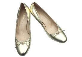 ☆【送料無料】ケイトスペード(Kate Spade) ゴールドカラーデザイン レザーパンプス(シューズ 靴)☆【中古】【2015ss】10P05Dec15
