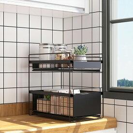 シンク下収納 シンク下スライドラック2段 幅27cm 多機能のキッチン収納 スライド式 ステンレス棚 調味料 収納 シンク下 ボトルラック (ブラック/ホワイト 40x27x39cm)