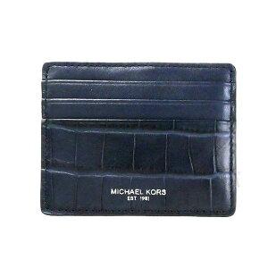 MICHAEL KORS マイケルコース カードケース メンズ 型押しレザー 定期入れ ネイビー 39F6LYTD2E 406 | ブランド