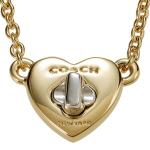COACH コーチ ネックレス レディース ターンロック ハート ペンダント ゴールド×シルバー F54487 GD/SV   ブランド