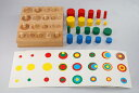 モンテッソーリ 円柱さし小 + 色付き円柱 + 演習シート Montessori 知育玩具