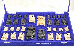 チャトランガ チェス 黒白 ♪ラージ♪ 4インチ Chaturanga 収納ケース付き