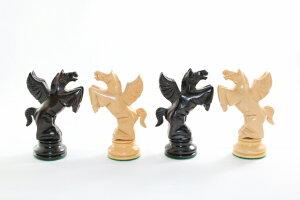 ハンドメイド高級 チェス駒セット ♪フライング・ナイト 柘植・黒檀♪  キング4.5インチ