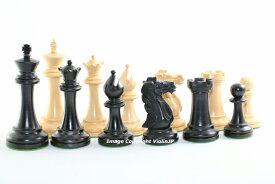 チェス駒セット コンクェスト ♪柘植・エボナイズド♪  キング3.75インチ ハンドメイド高級