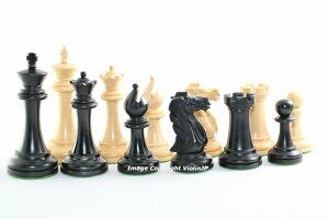 チェス駒セット コンクェスト ♪柘植・エボナイズド♪  キング4インチ ハンドメイド高級