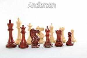 ハンドメイド高級 チェス駒セット ♪アンデルセン 柘植・インド紫檀♪  キング3.75インチ