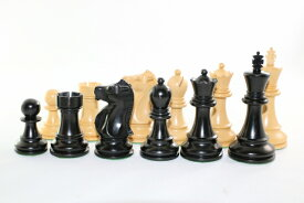 ハンドメイド高級 黒檀・柘植  ♪フィッシャー・スパースキー・モデル♪ チェス駒セット キング3.75インチ