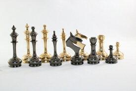 ハンドメイド高級 チェス駒セット ♪モダン・クラシック、メタル(真鍮製)♪  キング3.75インチ