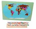 モンテッソーリ 国旗 世界36ヵ国 ♪世界地図、台座付き♪ Montessori 36 Flags of the World 知育玩具