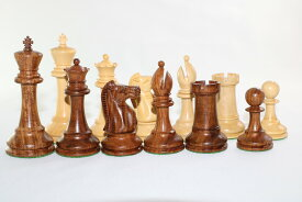 チェス駒セット Arrey スタントン ♪紫檀(シーシャム)・柘植♪  キング4インチ ハンドメイド高級