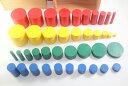 モンテッソーリ 色付き円柱 Knobless Cylinder Blocks Montessori 知育玩具