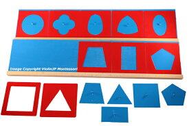 モンテッソーリ メタルインセッツ ♪スムーズに楽しく図形を描ける♪ 木製台付き 幾何図形パズル Montessori Metal Insets 知育玩具