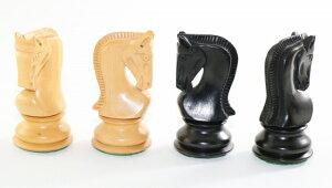 ハンドメイド高級 チェス駒セット ♪ロシアン・ゼブラ 柘植・エボナイズド♪  キング3.75インチ