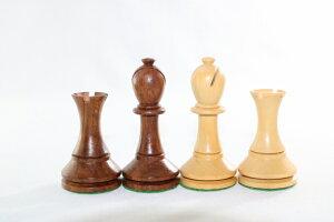 ハンドメイド高級 紫檀(シーシャム)・柘植  ♪ブラックモア・モデル♪ チェス駒セット キング4インチ
