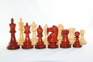 ハンドメイド高級 インド紫檀・柘植  ♪フィッシャー・スパースキー・モデル♪ チェス駒セット キング3.75インチ