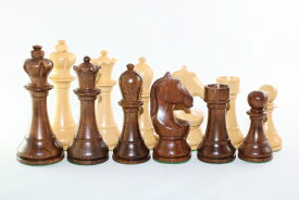 ハンドメイド高級 チェス駒セット ♪2014 ワールド・チャンピオンシップ 紫檀(シーシャム)・柘植♪  キング3.75インチ