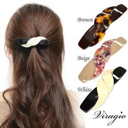バレッタ大髪留めシンプルリボンべっ甲風ヘアアクセサリー人気オフィスギフトプレゼント和ランキングvi-0357