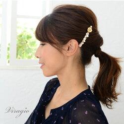 ヘアクリップヘアピン黒ヘアアクセサリーゴールドパール髪留め前髪くちばしクリップシンプルvi-1211