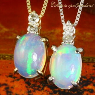 Opal pendant necklace K10 gold WG/PG/YG Lady's of April & October stone  amulet for an easy delivery diamond X topic from Ethiopia