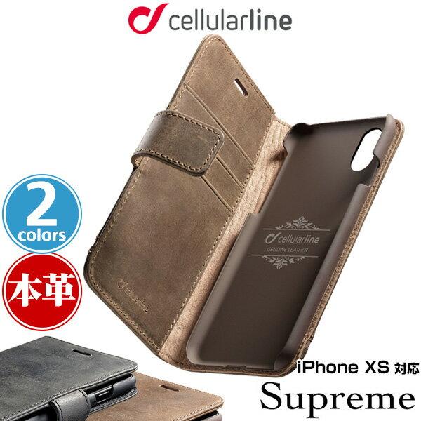 iPhone XS 用 ケース cellularline Supreme 本革手帳型ケース for iPhone XS / アイフォンXS アイフォンテンエス iPhoneXS テンエス アイフォーン アイフォン 2018 5.8
