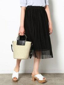 [Rakuten Fashion]【SALE/70%OFF】リバーシブルチュールプリーツXレース重ねスカート ViS ビス スカート 2Wayスカート ブラック ホワイト【RBA_E】