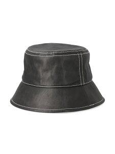 [Rakuten Fashion]ステッチポイントフェイクレザーバケットハット ViS ビス 帽子/ヘア小物 ハット ブラック ホワイト