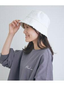 コットンフリンジバケットハット ViS ビス 帽子/ヘア小物 ハット ホワイト ブラック[Rakuten Fashion]