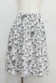 MACPHEE マカフィー コットン フレア スカート ISLANDデザイン 38 白×黒
