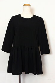 ZARA ザラ 裾フリル 九分袖カットソー S ブラック