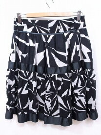 ZARA BASIC ザラベーシック 綿×絹 膝丈フレアスカート S ブラック/ホワイト