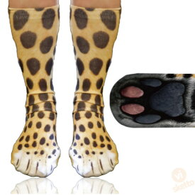 アニマル ソックス ヒョウ [ ユニセックス ] ( 送料無料 動物 靴下 動物の足 大人 通気性 プレゼント お土産 動物園 パーティ 可愛い 土産 animal socks dog zoo 3Dプリント )