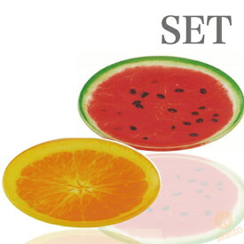 全品ポイントアップ中!フルーツプレート ≪オレンジ+スイカ≫セット (FRUIT PLATE watermelon 輪切り 果物 インスタ映え 夏 盛り合わせ 皿)
